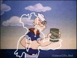 Popeye comiendo su espinaca