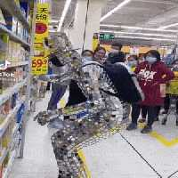 Glass man shopping